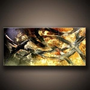 golden bridges abstract painting by Peter Dranitsin
