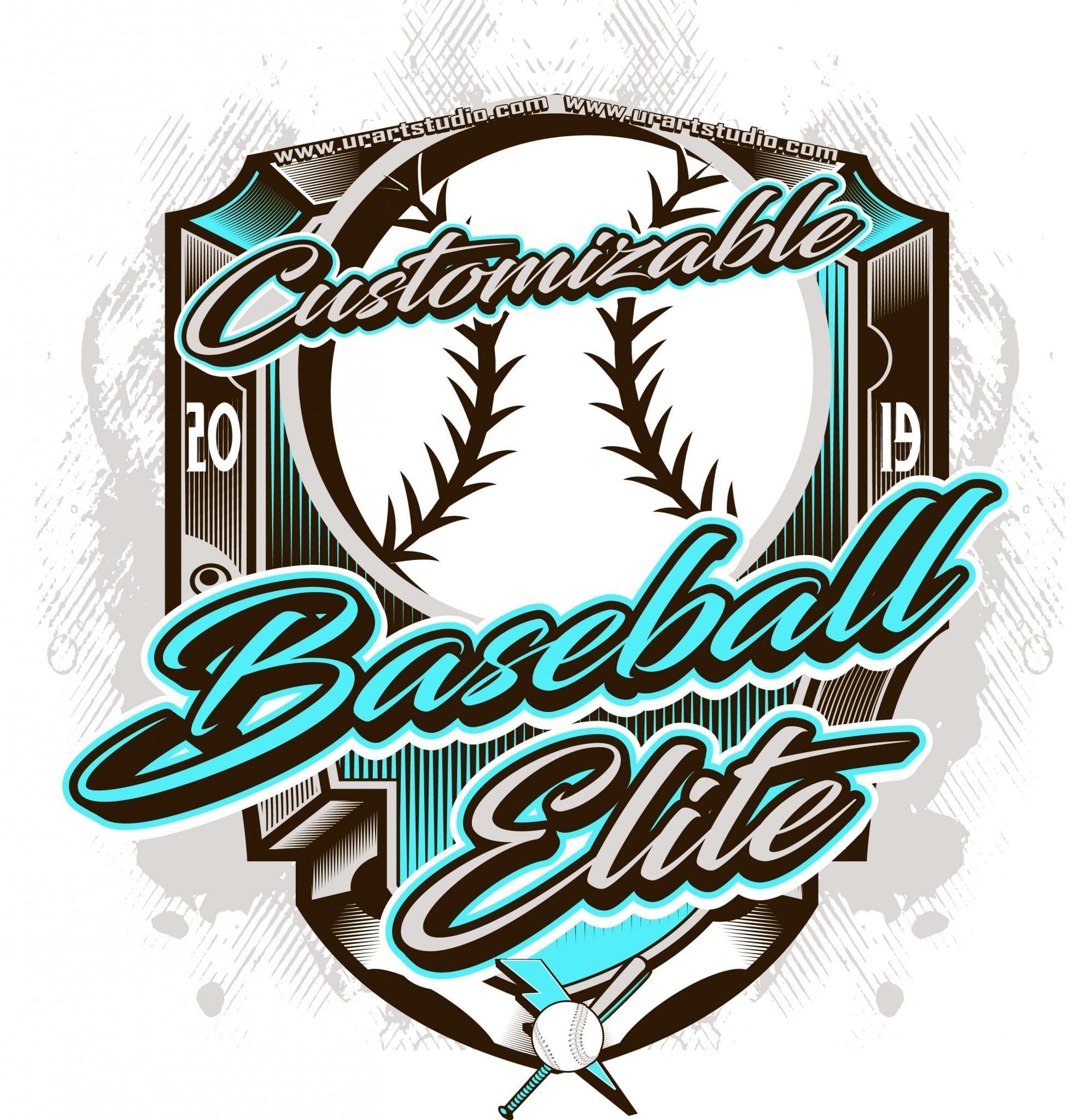 BASEBALL ELITE customizable T-shirt vector logo design for print 2019