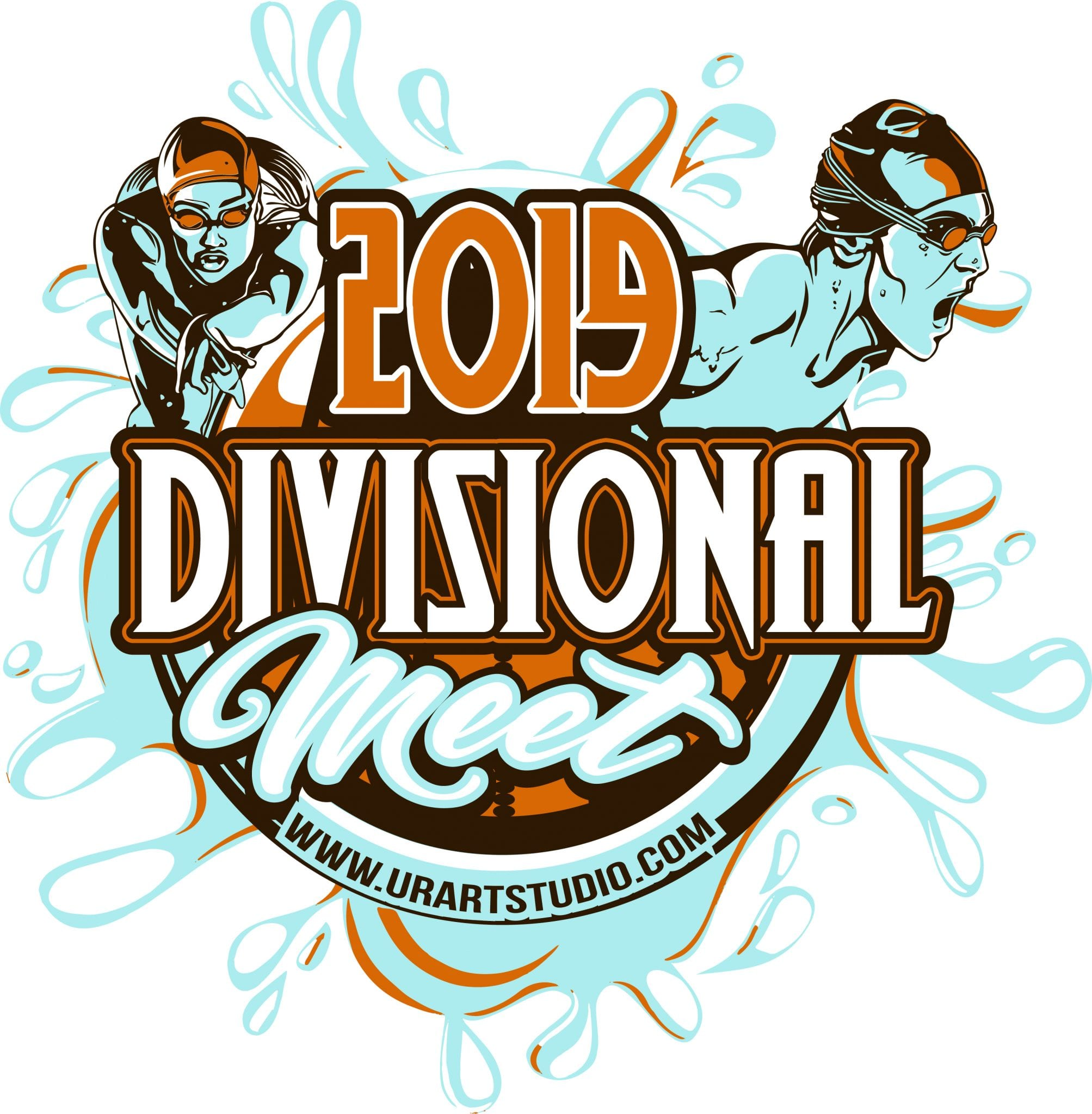 DIVISIONAL MEET SWIMMING customizable T-shirt vector logo design for print 2019