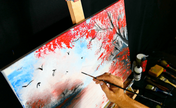 Easy painting autumn landscape with red trees, craws and water reflection acrylic paint