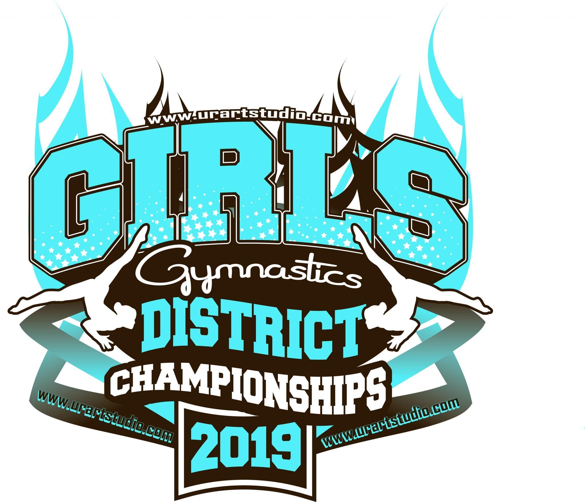 GIRLS GYMNASTICS DISTRICT CHAMPIONSHIPS customizable T-shirt vector logo design for print 2019