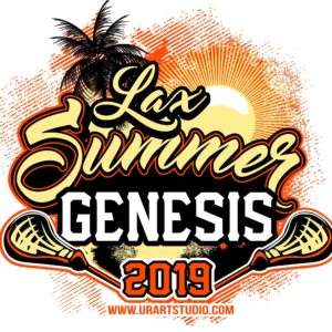 Lax SUMMER GENESIS Lacrosse customizable T-shirt vector logo design for print 2019