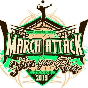 MARCH ATTACK VOLLEYBALL customizable T-shirt vector logo design for print 2019