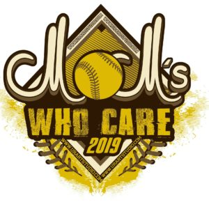 MOM WHO CARE SOFTBALL customizable T-shirt vector logo design for print 2019