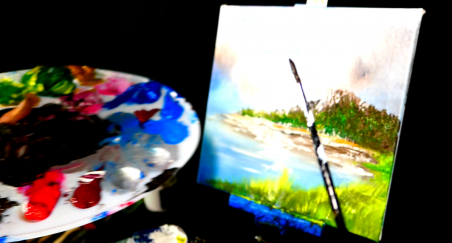 Painting beautiful mountain and ocean scene with acrylic paint, glazing gloss medium