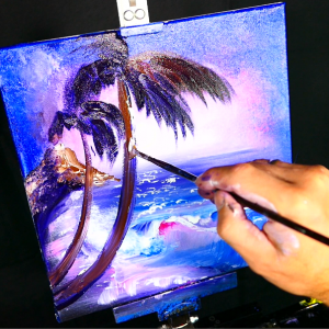Painting palm trees, dormant volcano, beach, ocean, moon acrylic paint glazing medium