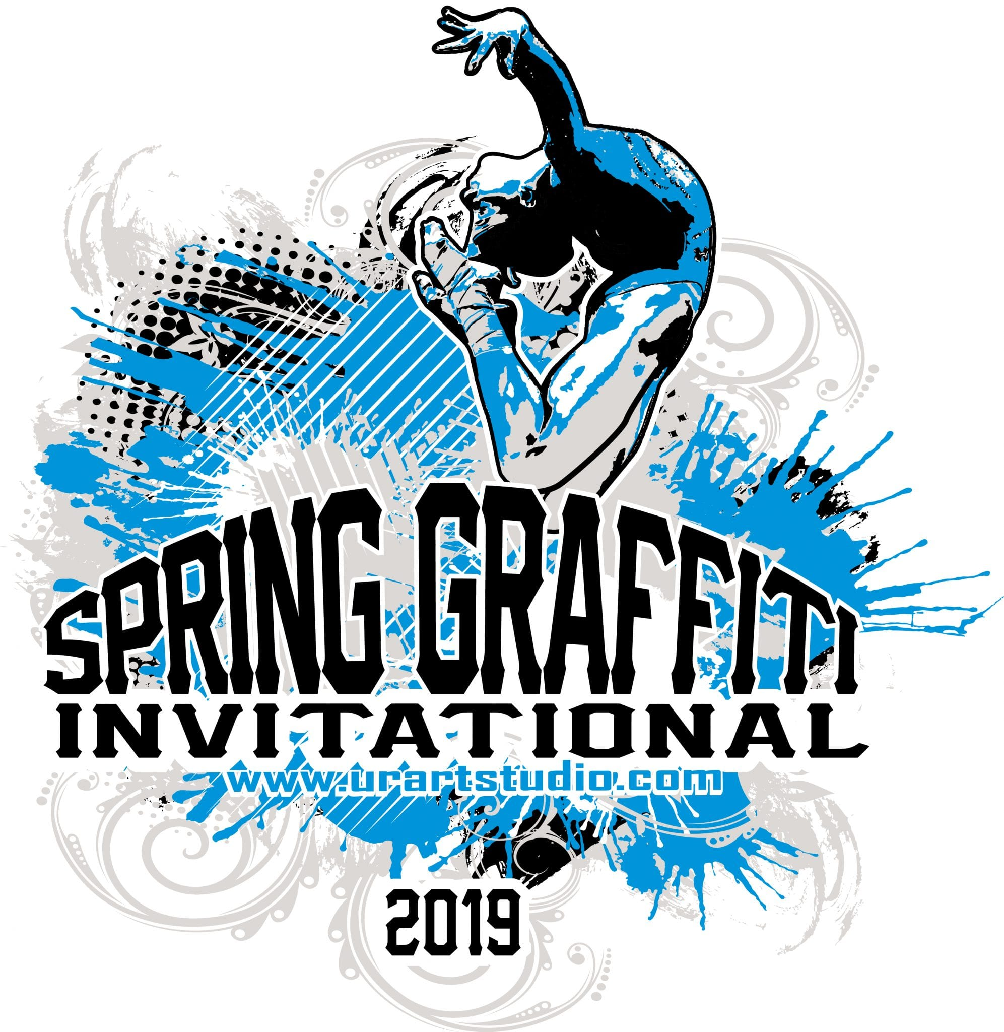 SPRING GRAFFITI INVITATIONAL customizable T-shirt vector logo design for print 2019
