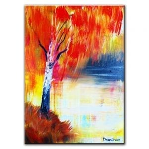 SPRING POEM, BIRCH TREE ON THE LAKE, ACRYLIC, PAINTING