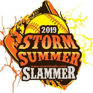 STORM SUMMER SLAMMER SOFTBALL customizable T-shirt vector logo design for print 2019