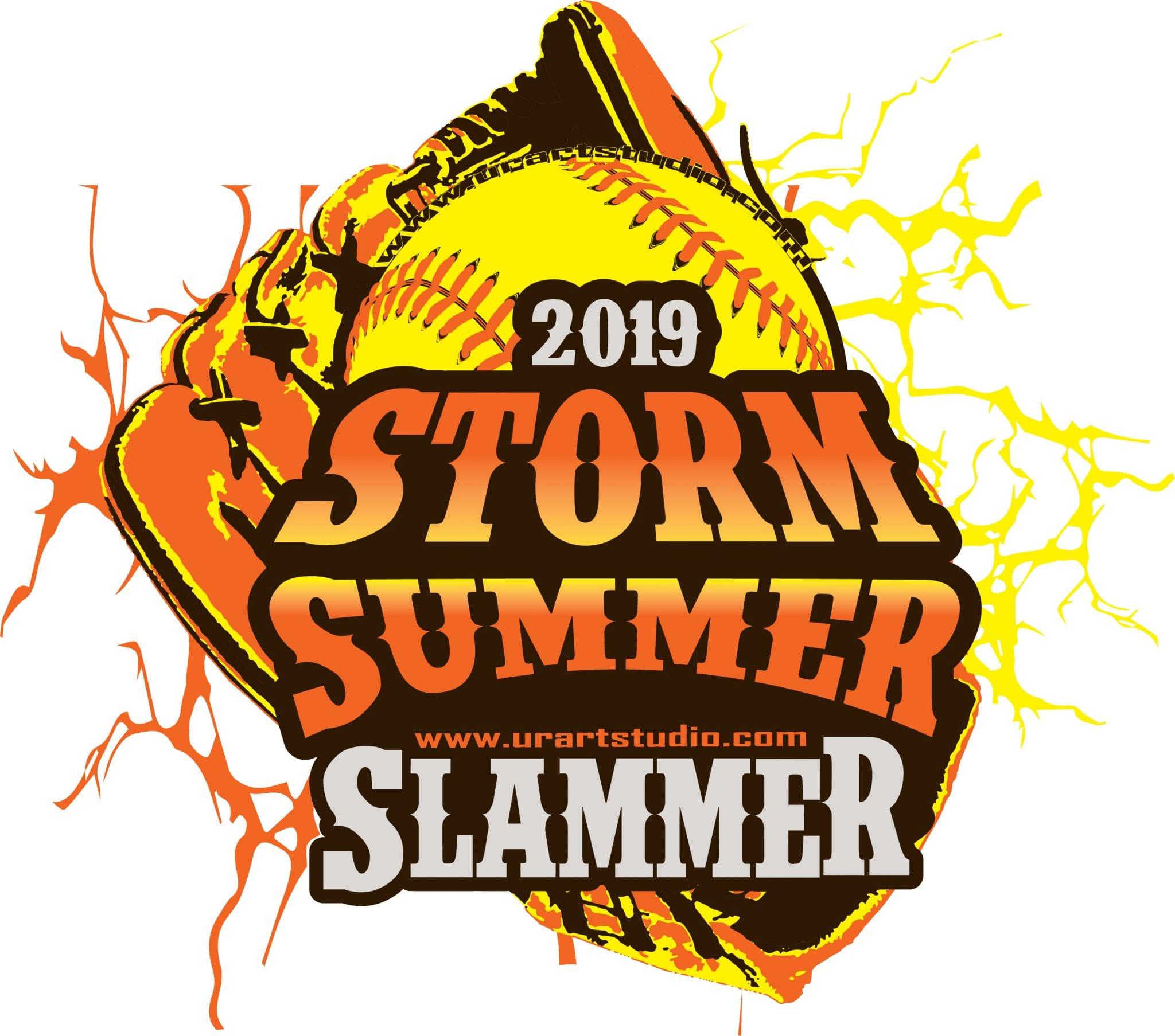 STORM SUMMER SLAMMER SOFTBALL customizable T-shirt vector logo design for print 2019