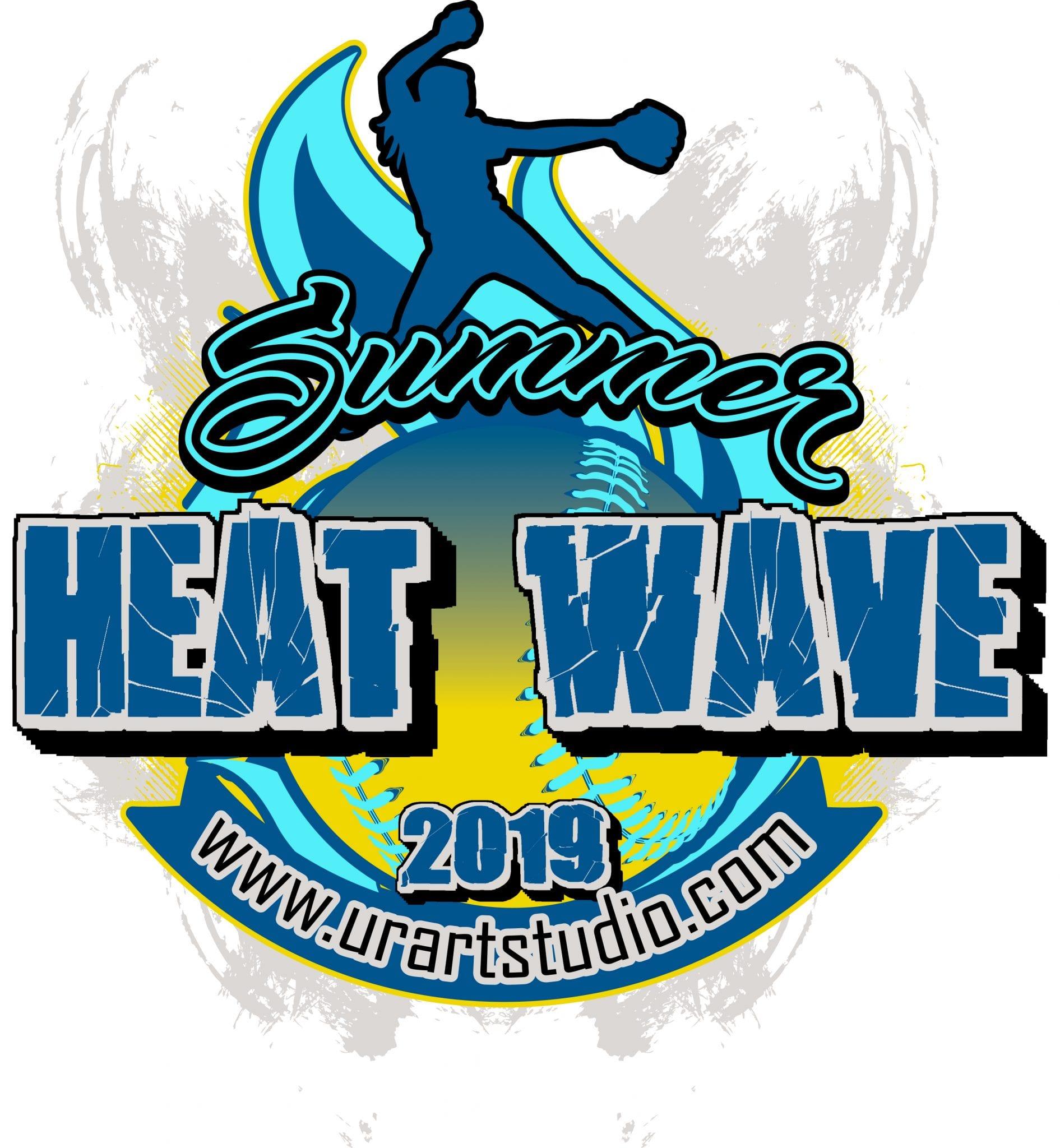 SUMMER HEAT WAVE SOFTBALL customizable T-shirt vector logo design for print 2019