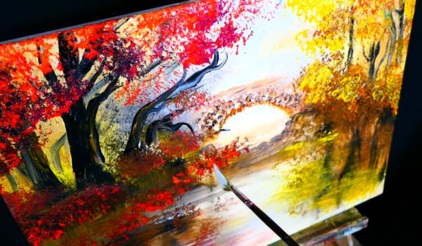 Stone bridge acrylic step by step painting demo Fall Season trees on the lake
