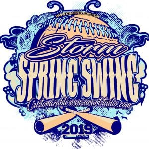 Storm Spring Swing Softball customizable T-shirt vector logo design for print 2019