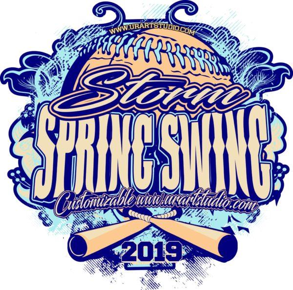 Storm Spring Swing Softball customizable T-shirt vector logo design for print 2019