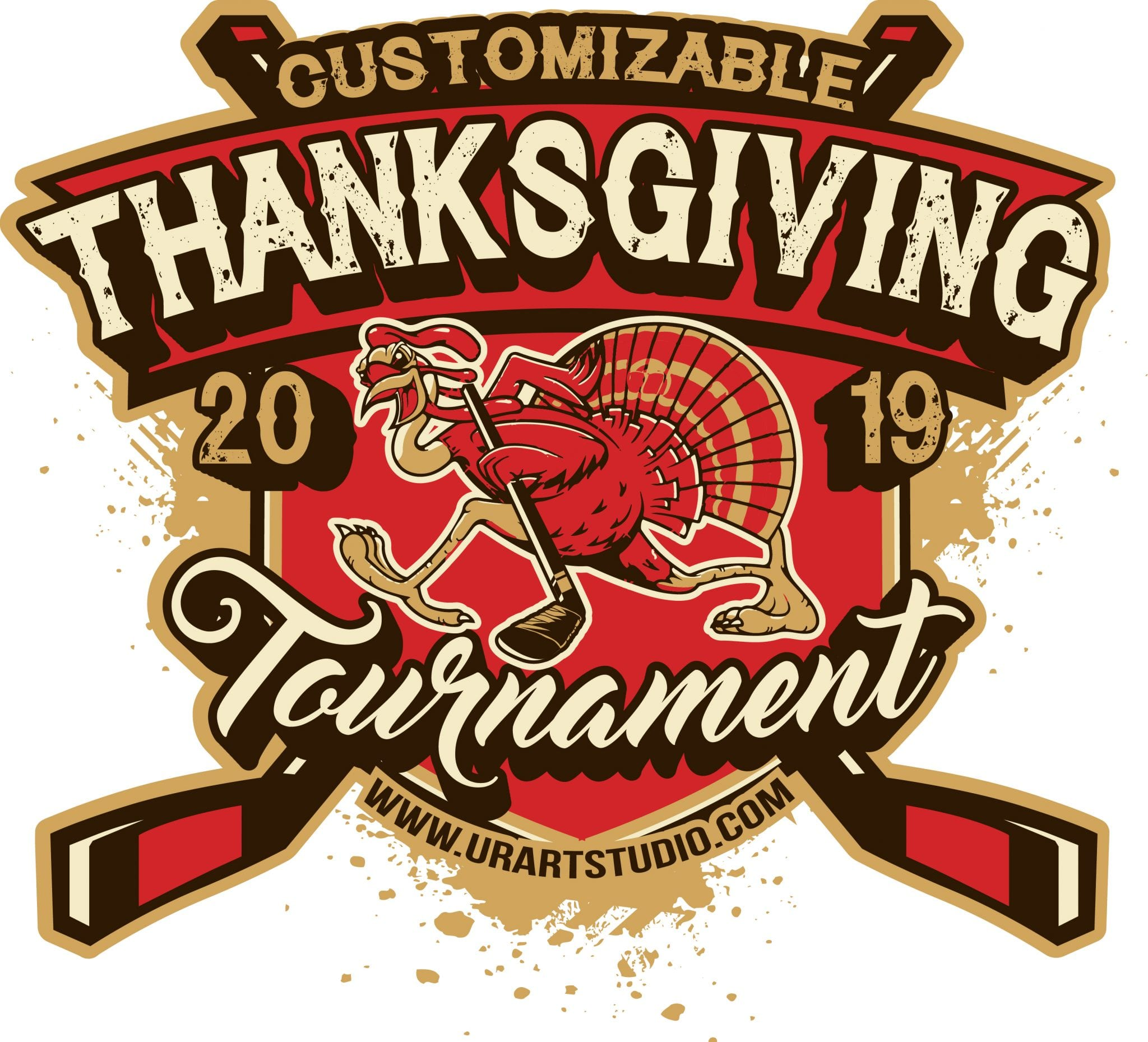 THANKSGIVING HOCKEY TOURNAMENT customizable T-shirt vector logo design for print 2019