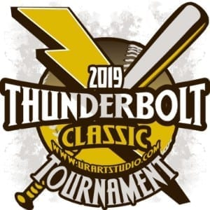 THUNDERBOLT CLASSIC TOURNAMENT customizable T-shirt vector logo design for print 2019