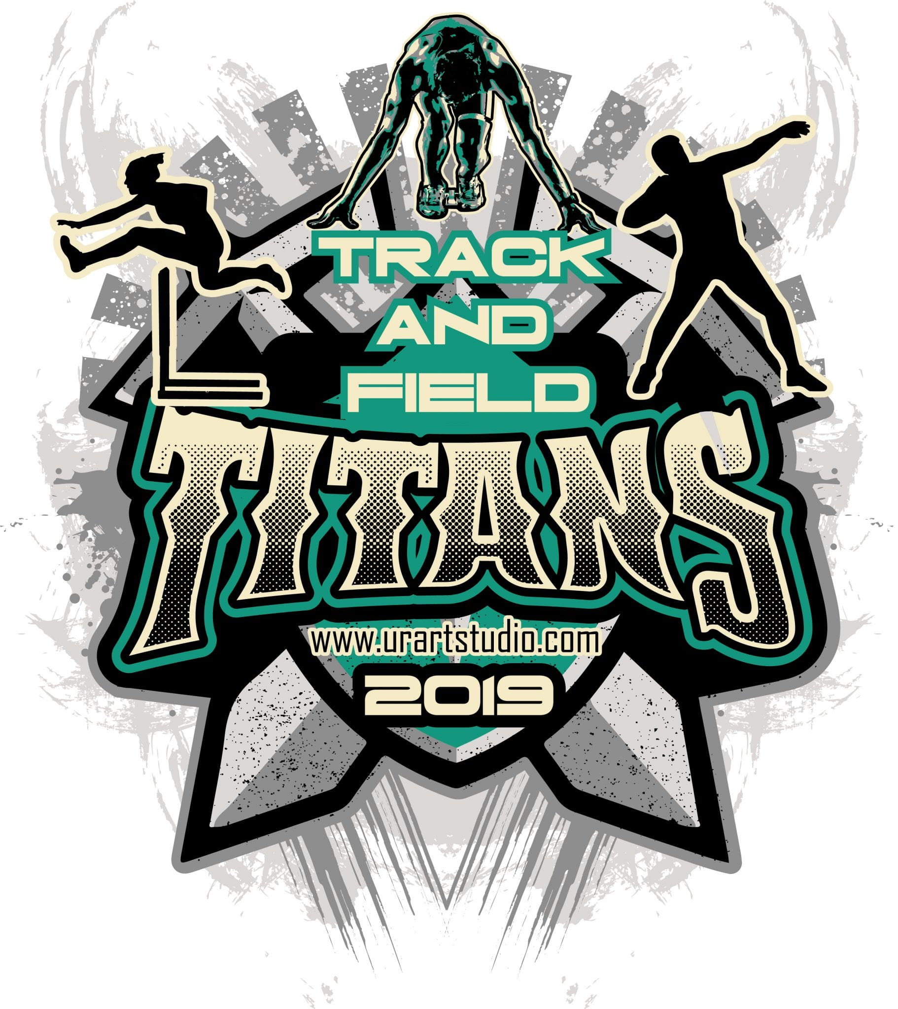 TRACK AND FIELD TITANS customizable T-shirt vector logo design for print 2019