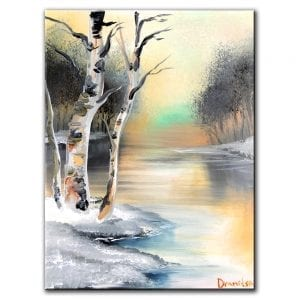 WINTER POEM BIRCH TREE PAINTING