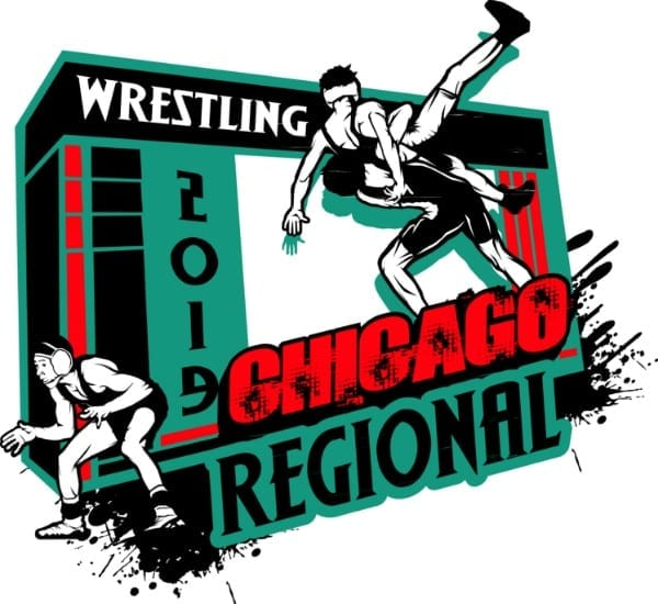 WRESTLING CHICAGO REGIONAL 2019 adjustable T-shirt vector logo design for print