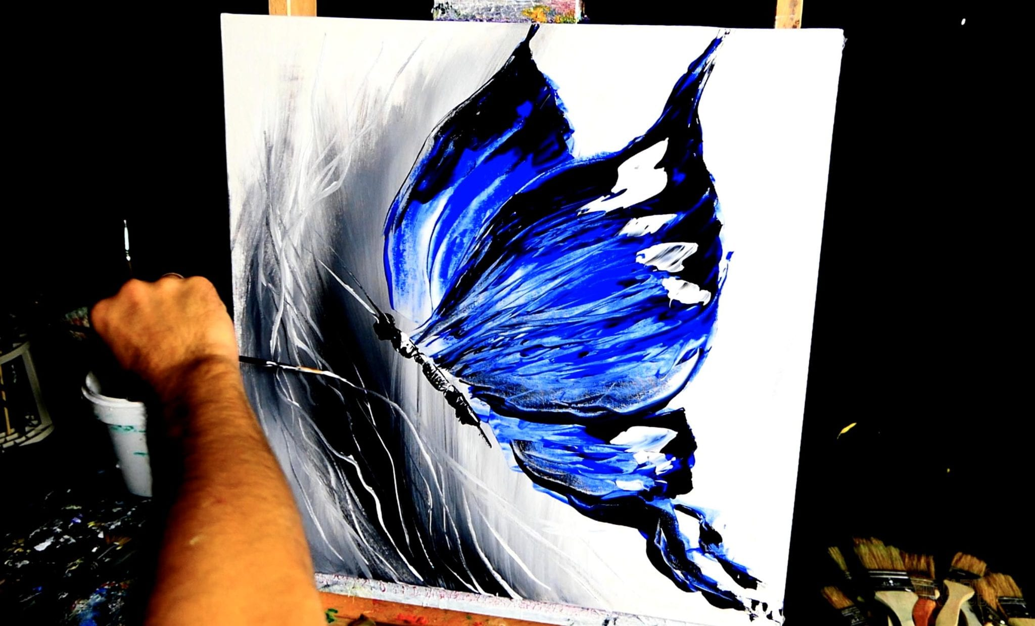 BLUE BUTTERFLY – abstract painting by Dranitsin ...