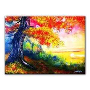 OAK TREE AT SUNSET, original painting by Dranitsin