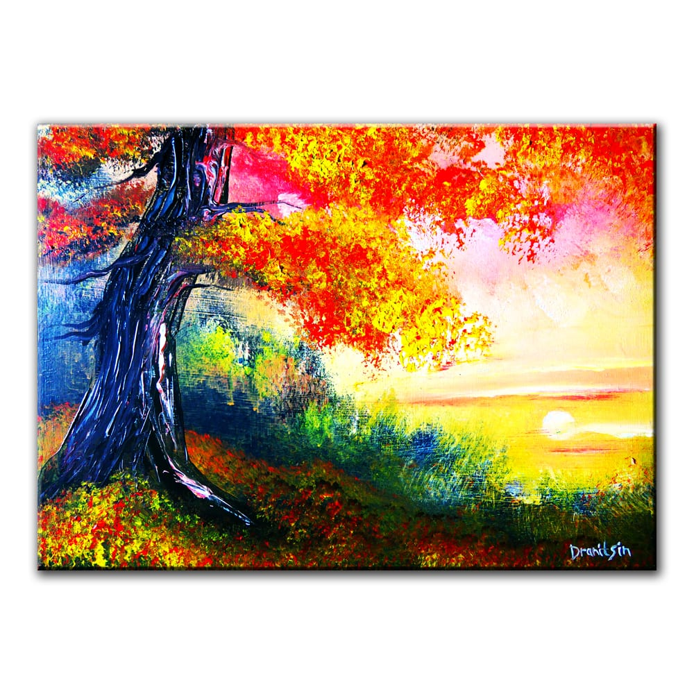 OAK TREE AT SUNSET, original painting by Dranitsin