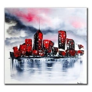 RED CITY, original abstract painting by Dranitsin
