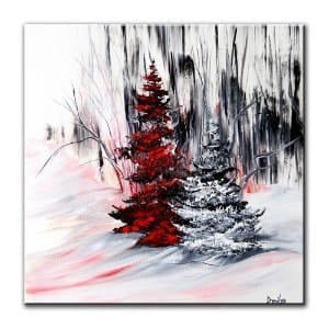 RED EVERGREEN TREE, original painting by Dranitsin