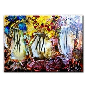 3 VASES, original painting by Dranitsin