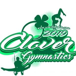 CLOVER GYMNASTICS 2019 customizable T-shirt vector logo design for print