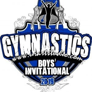 GYMNASTICS BOYS INVITATIONAL 2019 T customizable T-shirt vector logo design for print