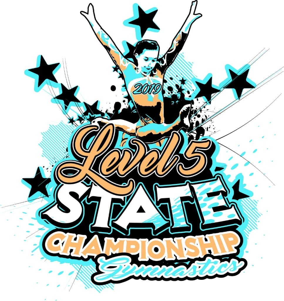 LEVEL 5 STATE CHAMPIONSHIP GYMNASTICS T customizable T-shirt vector logo design for print