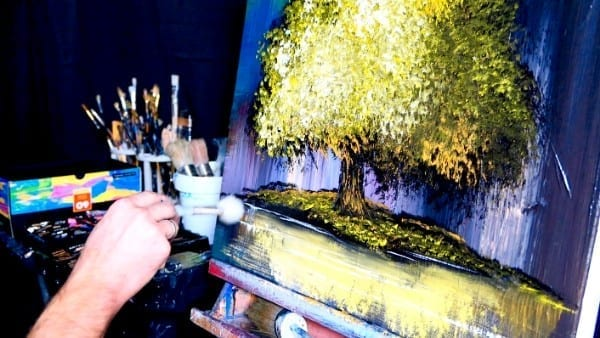 SLOW MOTION PAINTING - BLISS - acrylic abstract painting, golden tree by Dranitsin