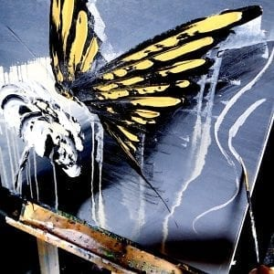 SLOW PAINTING, GOLD BUTTERFLY, ABSTRACT, PETER DRANITSIN