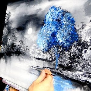 "SLOW MOTION - ""No One Else"" - blue tree, acrylic, abstract, landscape painting by Dranitsin"