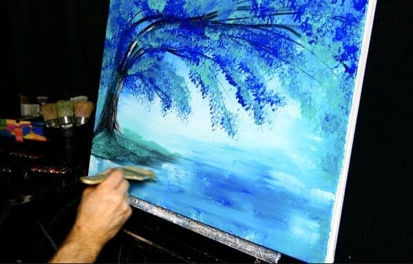 ELEGANT BLUE TREE, abstract landscape painting by Dranitsin