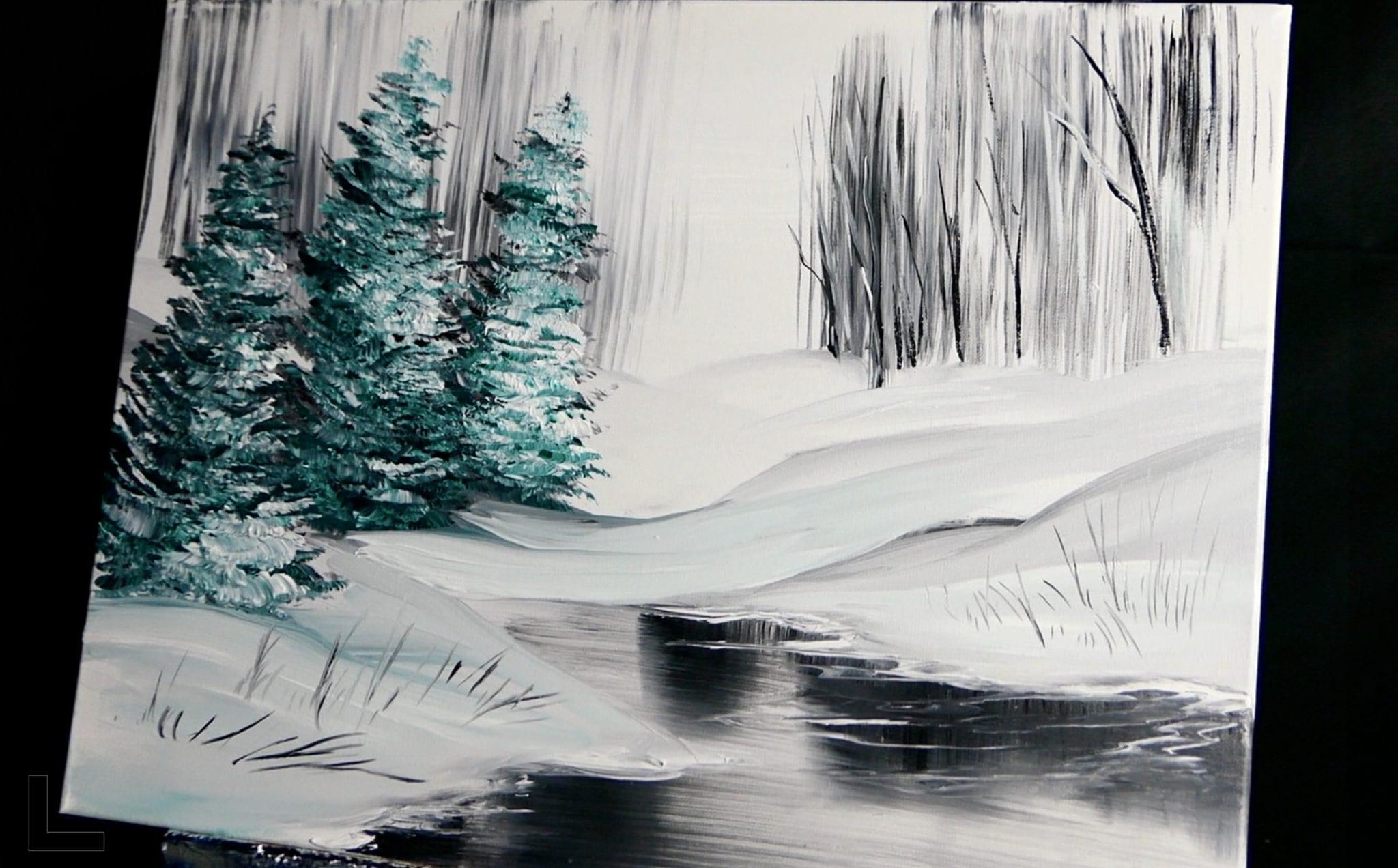 Frozen Pond Easy Acrylic Abstract Painting Techniques Dranitsin Urartstudio