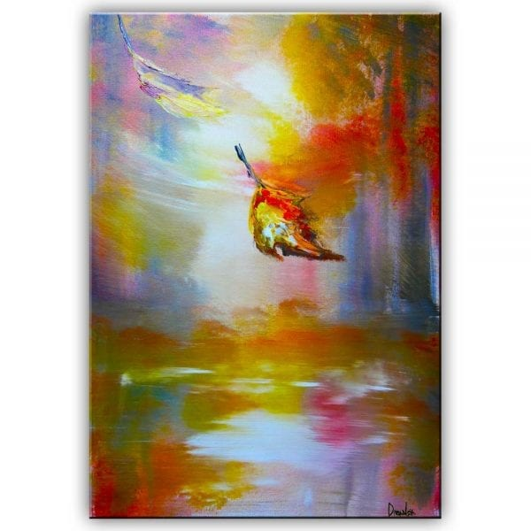 falling leaves, painting, dranitsin