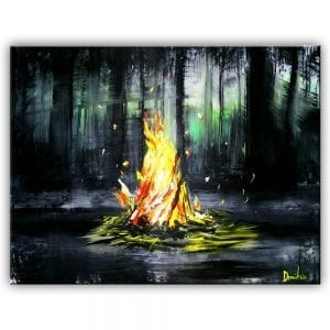 CAMP FIRE ACRYLIC PAINTING BY DRANITSIN