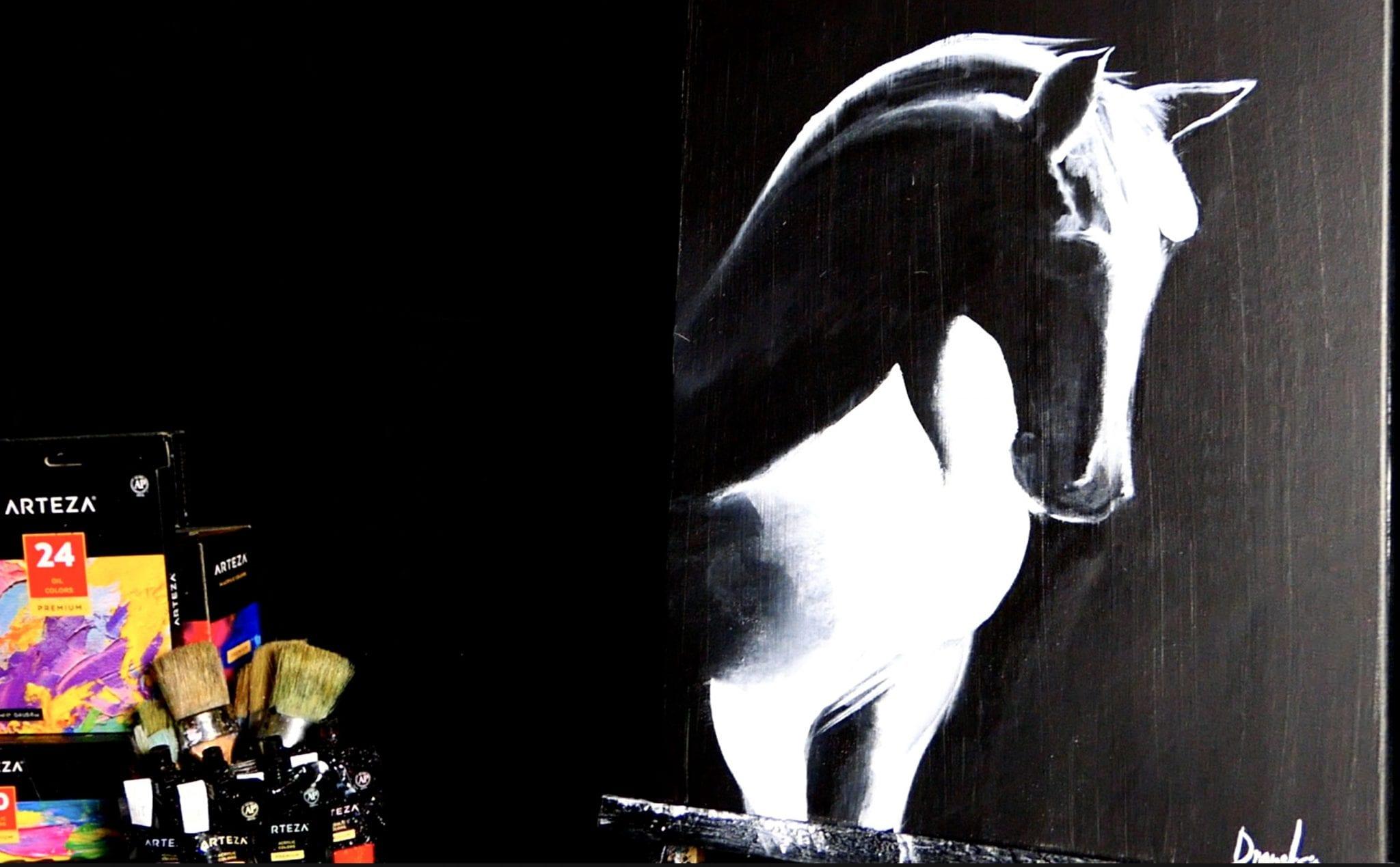 White Horse 1 Color Painting Techniques Acrylics Dranitsin Urartstudio