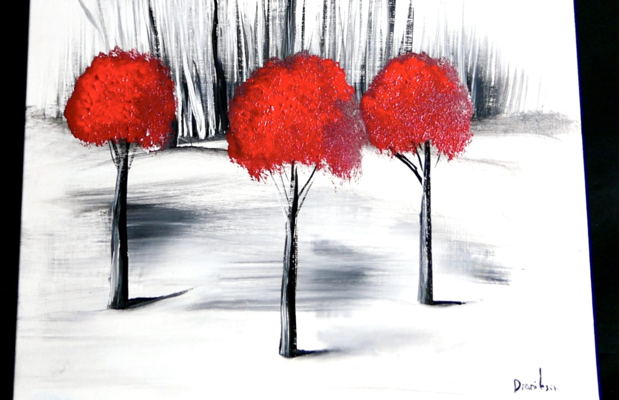 3 Red Trees Easy Step By Painting Demo For Beginners Abstract Techniques Urartstudio