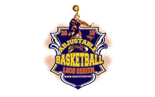 BASKETBALL ADJUSTABLE VECTOR LOGO DESIGN FOR PRINT AI EPS PDF PSD 503