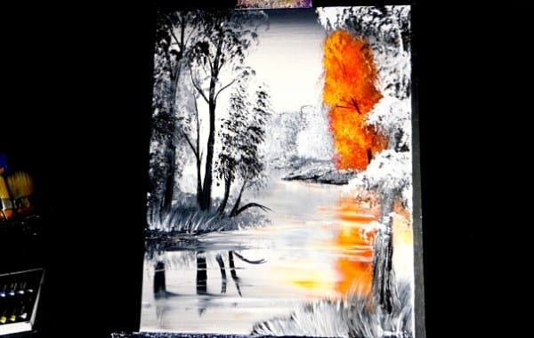 ORANGE TREE, ABSTRACT PAINTING, LANDSCAPE PAINTING, BY DRANITSIN