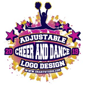CHEER AND DANCE ADJUSTABLE VECTOR LOGO DESIGN FOR PRINT AI EPS PDF PSD 504