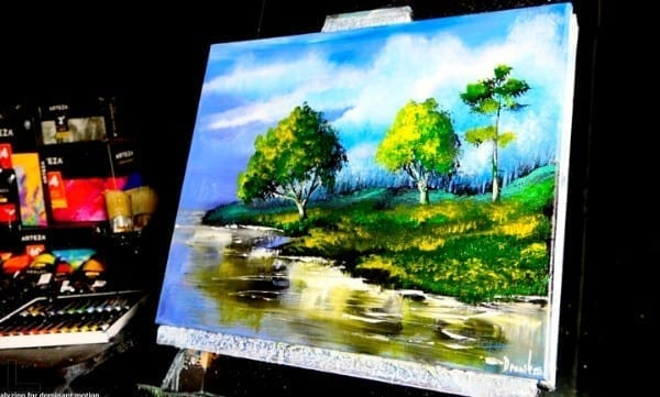 GREEN LANDSCAPE, ORIGINAL ACRYLIC LANDSCAPE PAINTING BY DRANITSIN