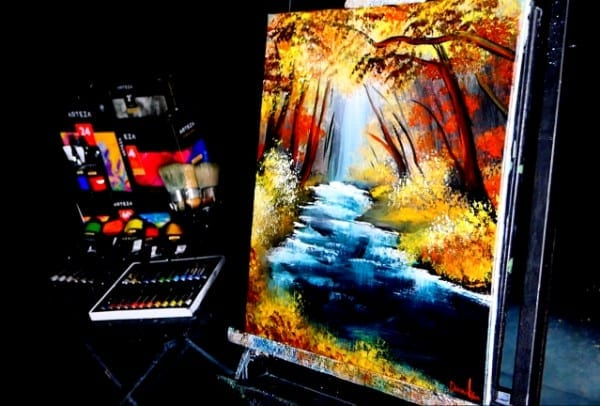 HIDDEN STREAM, ORIGINAL LANDSCAPE PAINTING BY DRANITSIN