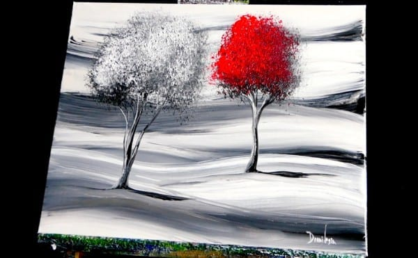 red and white abstract tree painting by Dranitsin