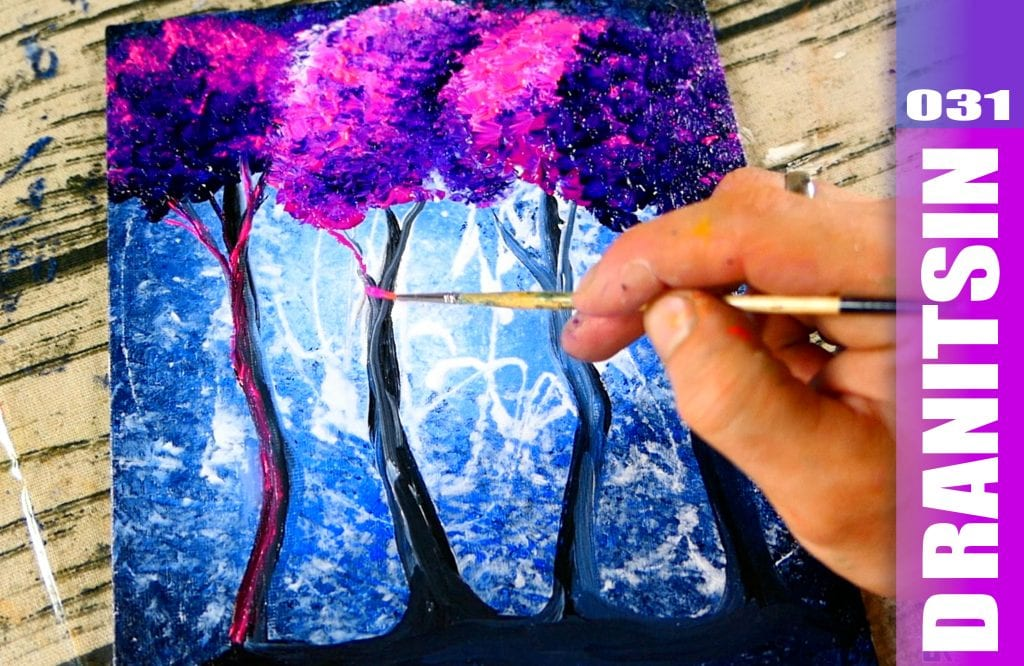 Pink Violet Trees | Abstract Landscape Painting | Acrylic | Step by Step Demo | 031