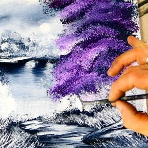Painting Purple Tree in Black and White Landscape, acrylic painting demonstration, 067