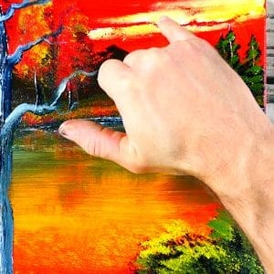 How to a paint beautiful landscape at sunset, acrylics, easy painting techniques, 062